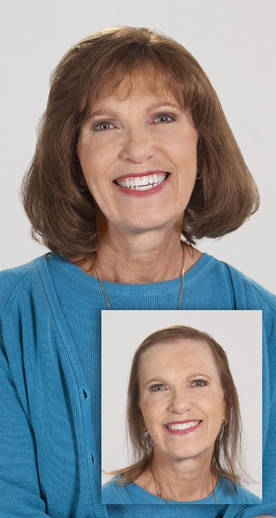 Woman with curly hair happy about Eldorado hair replacement
